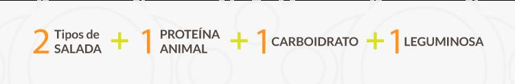 2 Tipos de Salada + 1 Proteína Animal + 1 Carboidrato + 1 Leguminosa