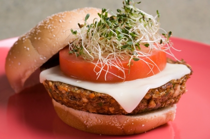 Veggie Tofu Burger with Soy Mozzarella Cheese and Alfalfa Sprouts