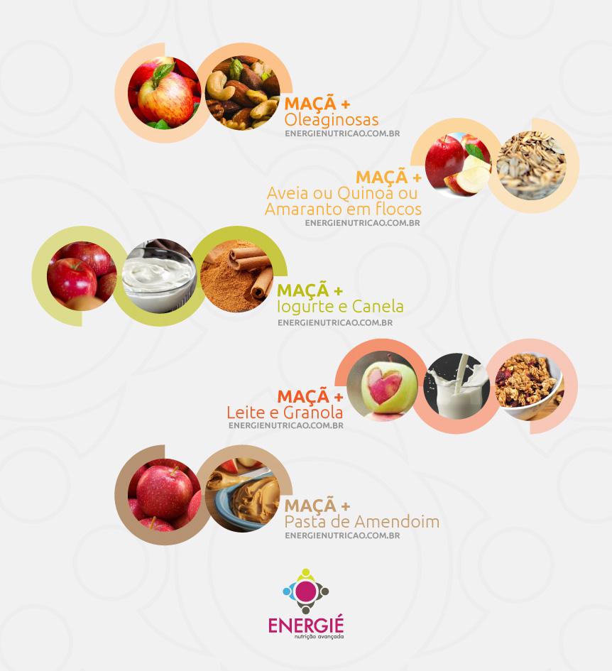Maça aumenta a fome? Faça essas combinações: Maçã + oleaginosas | Maçã + aveia ou quinoa ou amaranto em flocos | Maçã + iogurte + canela | Maçã + leite + granola | Maçã + pasta de amendoim